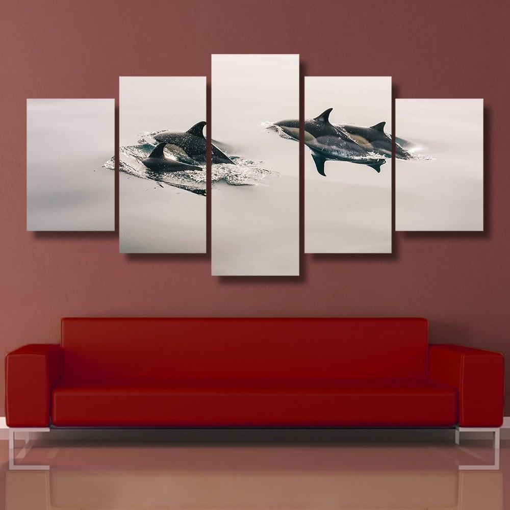 Black & White Dolphin 5 Piece Canvas Small / No Frame Wall