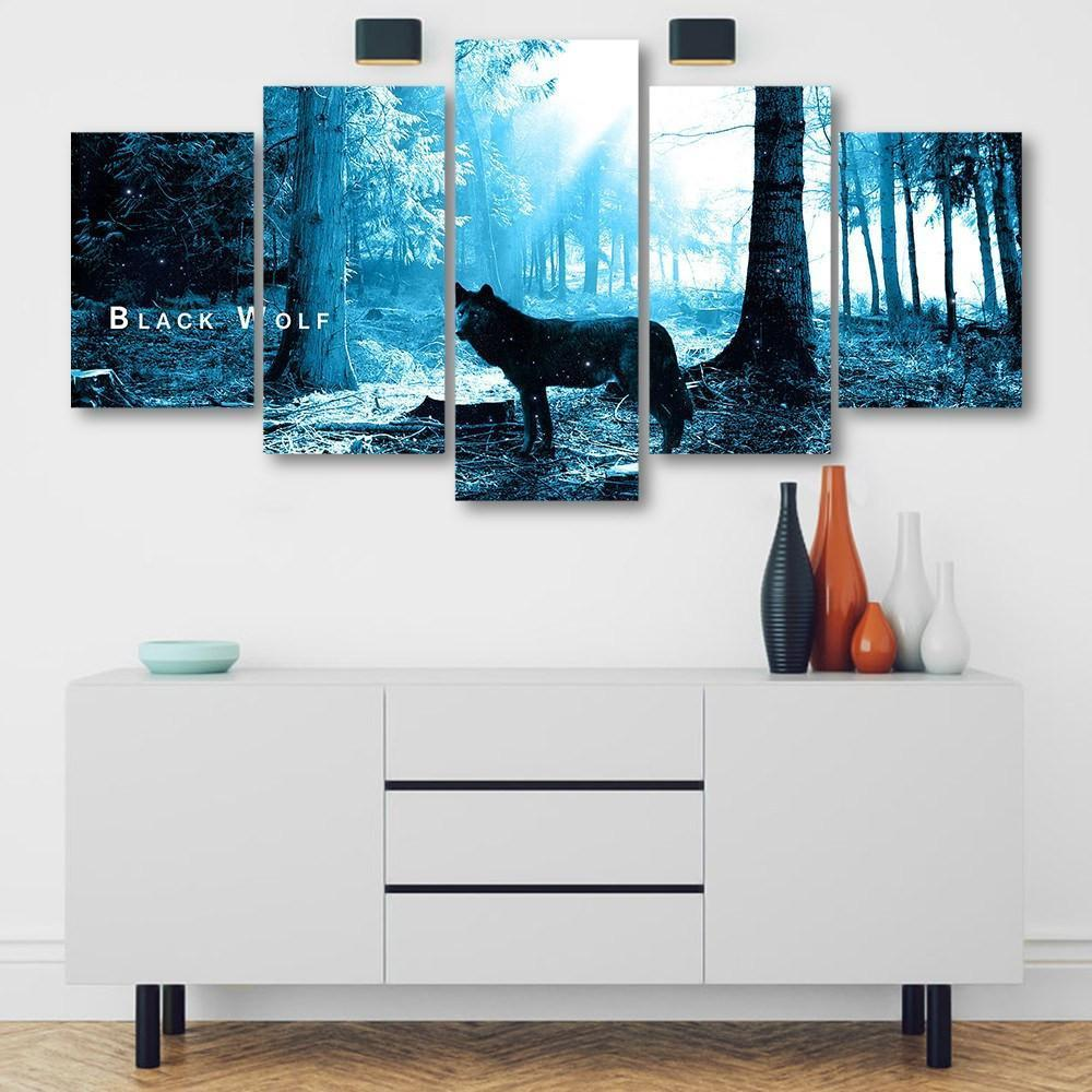 Black Wolf 5 Piece Canvas Small / No Frame Wall