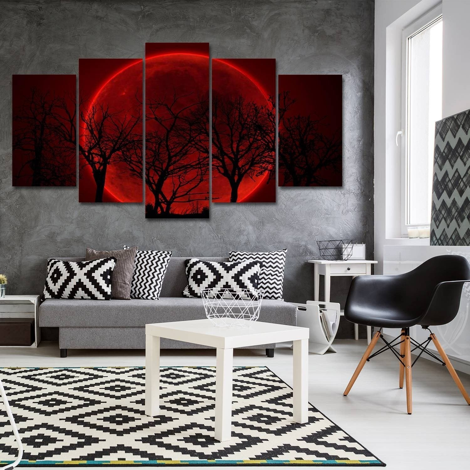 Blood Moon 5 Piece Canvas Small / No Frame Wall