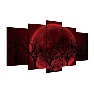Blood Moon 5 Piece Canvas Wall