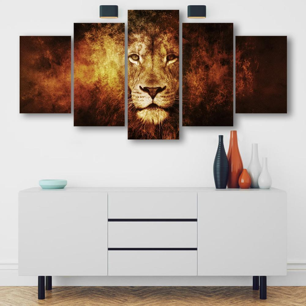 Calm Lion 5 Piece Canvas Small / No Frame Wall