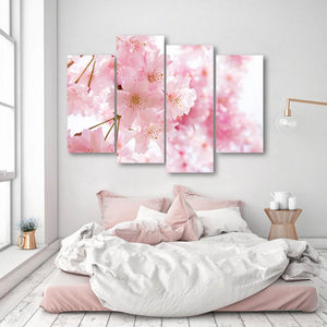 Double Cherry Blossoms 4 Piece Canvas Small / No Frame Wall
