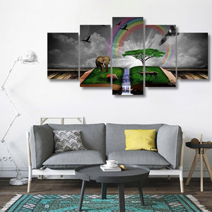 Elephant Book 5 Piece Canvas Small / No Frame Wall