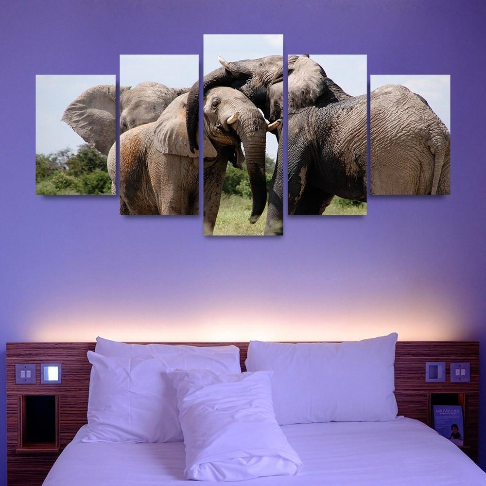 Elephant Herd 5 Piece Canvas Small / No Frame Wall