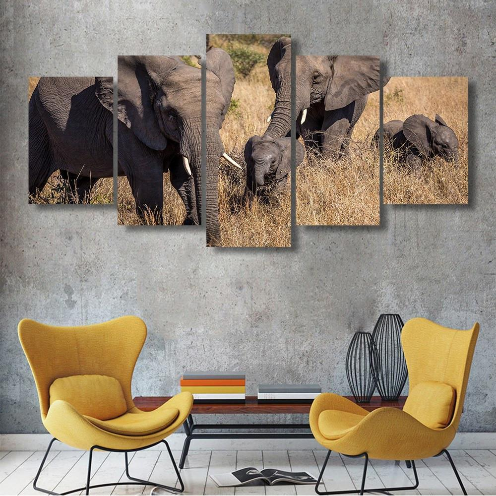 Elephant In Grass 5 Piece Canvas Small / No Frame Wall