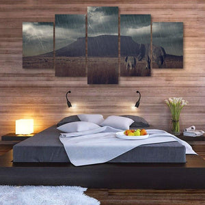 Elephant In Storm 5 Piece Canvas Small / No Frame Wall