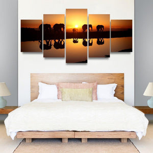 Elephant Sunset 5 Piece Canvas Small / No Frame Wall