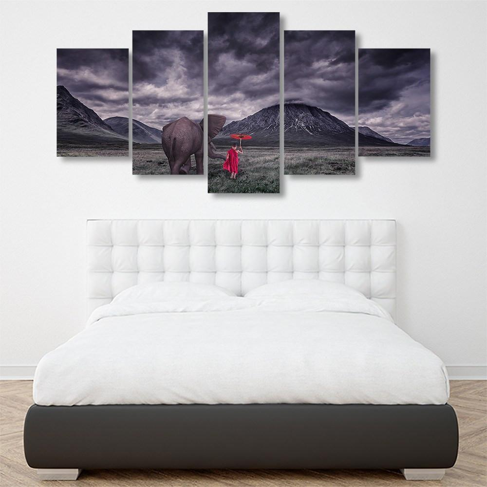 Elephant With Monk 5 Piece Canvas Small / No Frame Wall