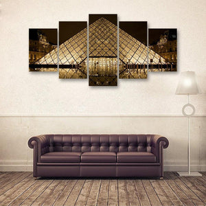 Glass Pyramid 5 Piece Canvas Small / No Frame Wall
