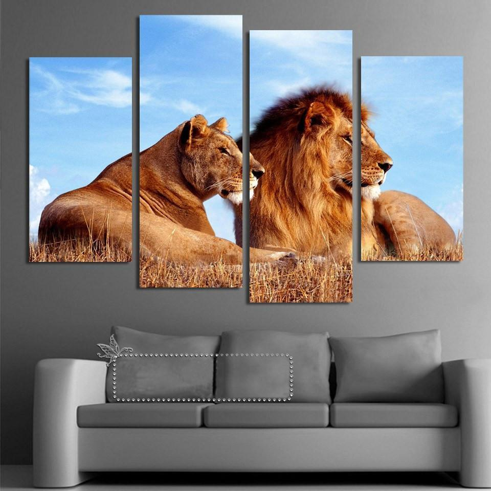 King And Queen Lion 4 Piece Canvas Small / No Frame Wall