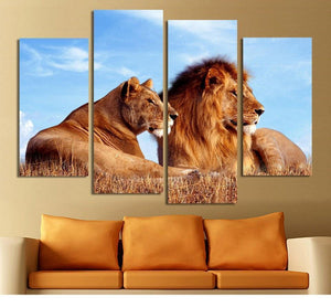 King And Queen Lion 4 Piece Canvas Wall