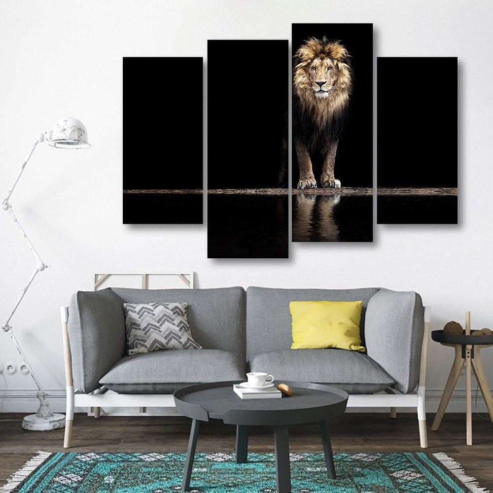 Lion At Waterhole 4 Piece Canvas Small / No Frame Wall