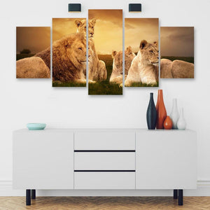 Lion Pride 5 Piece Canvas Small / No Frame Wall