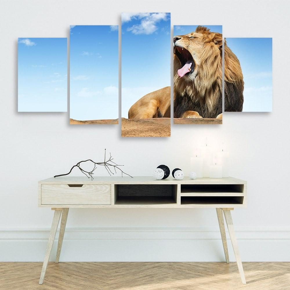 Lions Roar 5 Piece Canvas Small / No Frame Wall