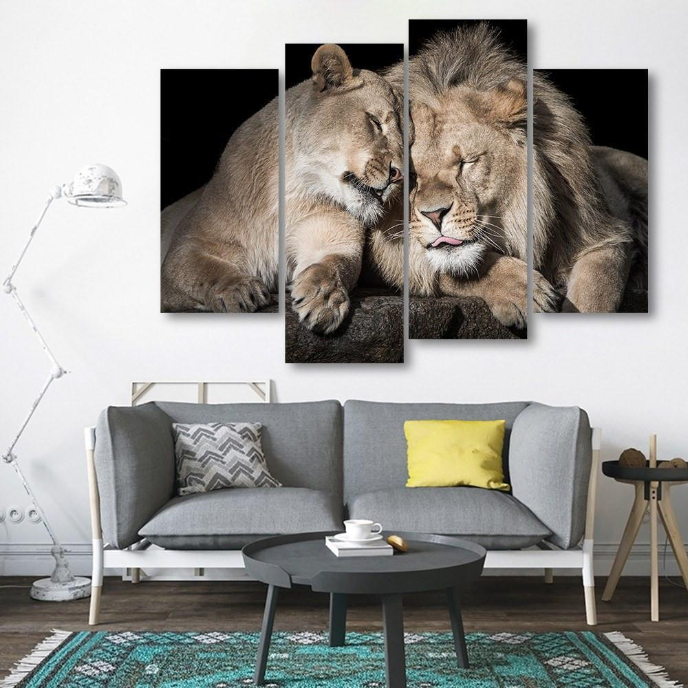 Lion Siblings 4 Piece Canvas Small / No Frame Wall