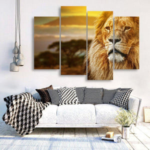 Male Lion 4 Piece Canvas Small / No Frame Wall