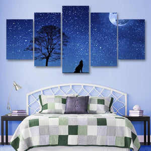 Night Wolf 5 Piece Canvas Small / No Frame Wall