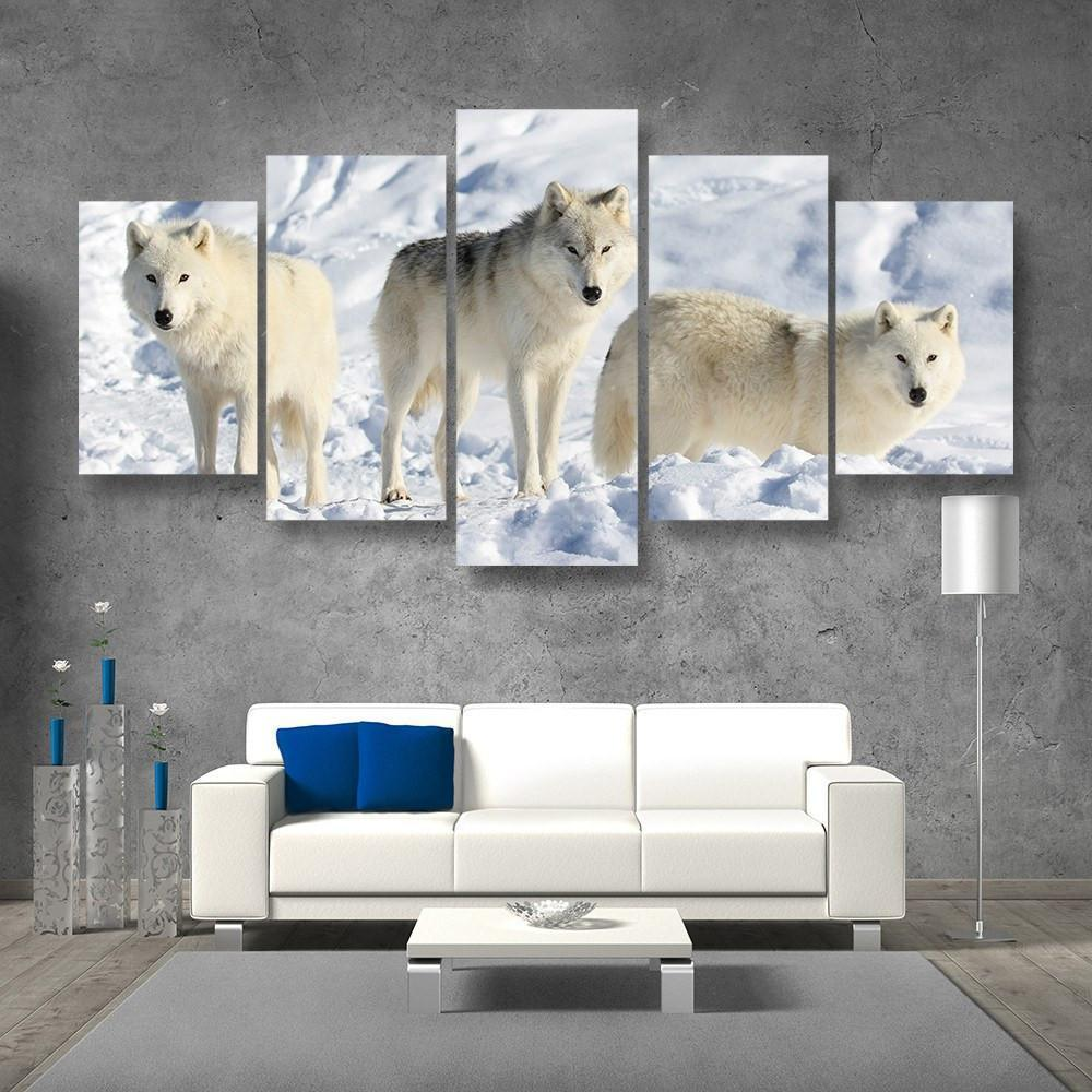 Pack Of Wolves 5 Piece Canvas Small / No Frame Wall