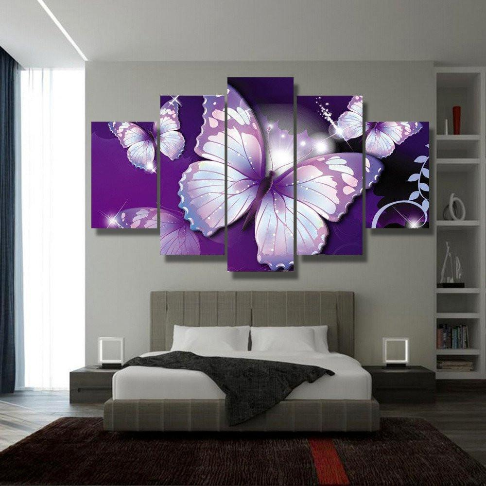 Purple Butterflies 5 Piece Canvas Small / No Frame Wall
