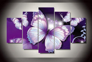 Purple Butterflies 5 Piece Canvas Wall