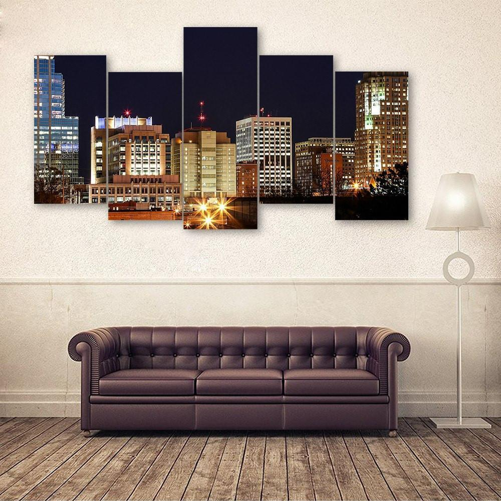 Raleigh 5 Piece Canvas Small / No Frame Wall