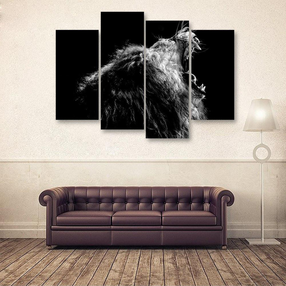 Roaring Lion 4 Piece Canvas Small / No Frame Wall