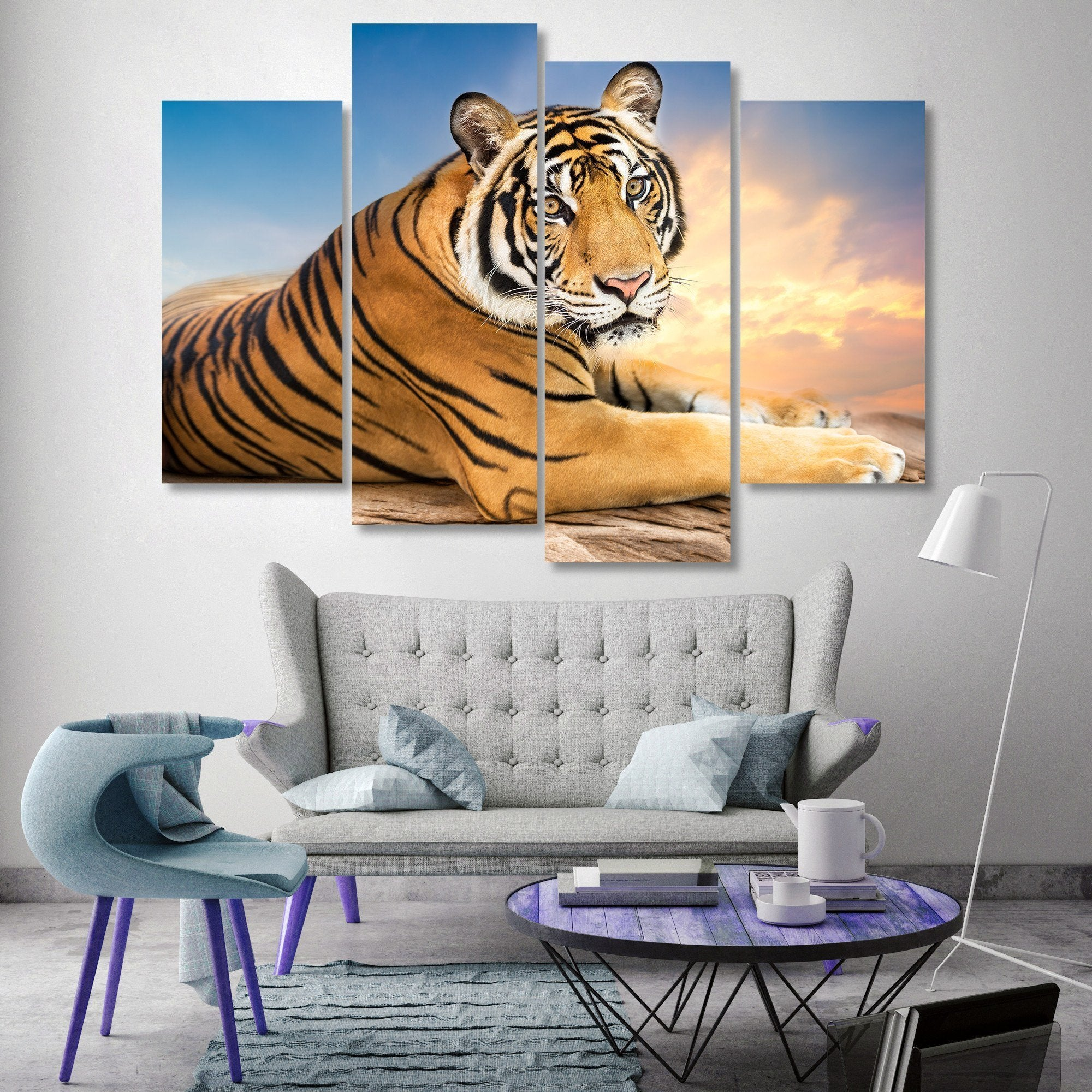 Siberian Tiger 4 Piece Canvas Small / No Frame Wall