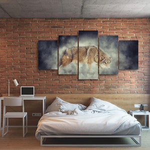 Smoke & Wolf 5 Piece Canvas Small / No Frame Wall