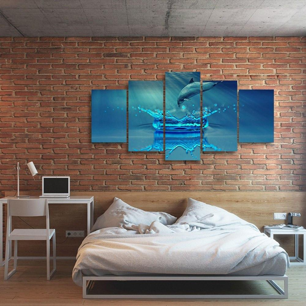 Splash Dolphin 5 Piece Canvas Small / No Frame Wall