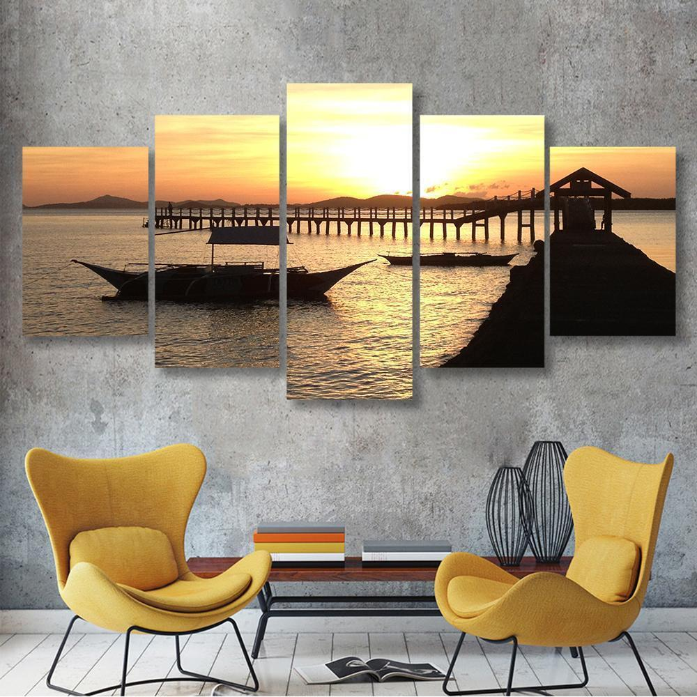 Sunset At The Bay 5 Piece Canvas Small / No Frame Wall