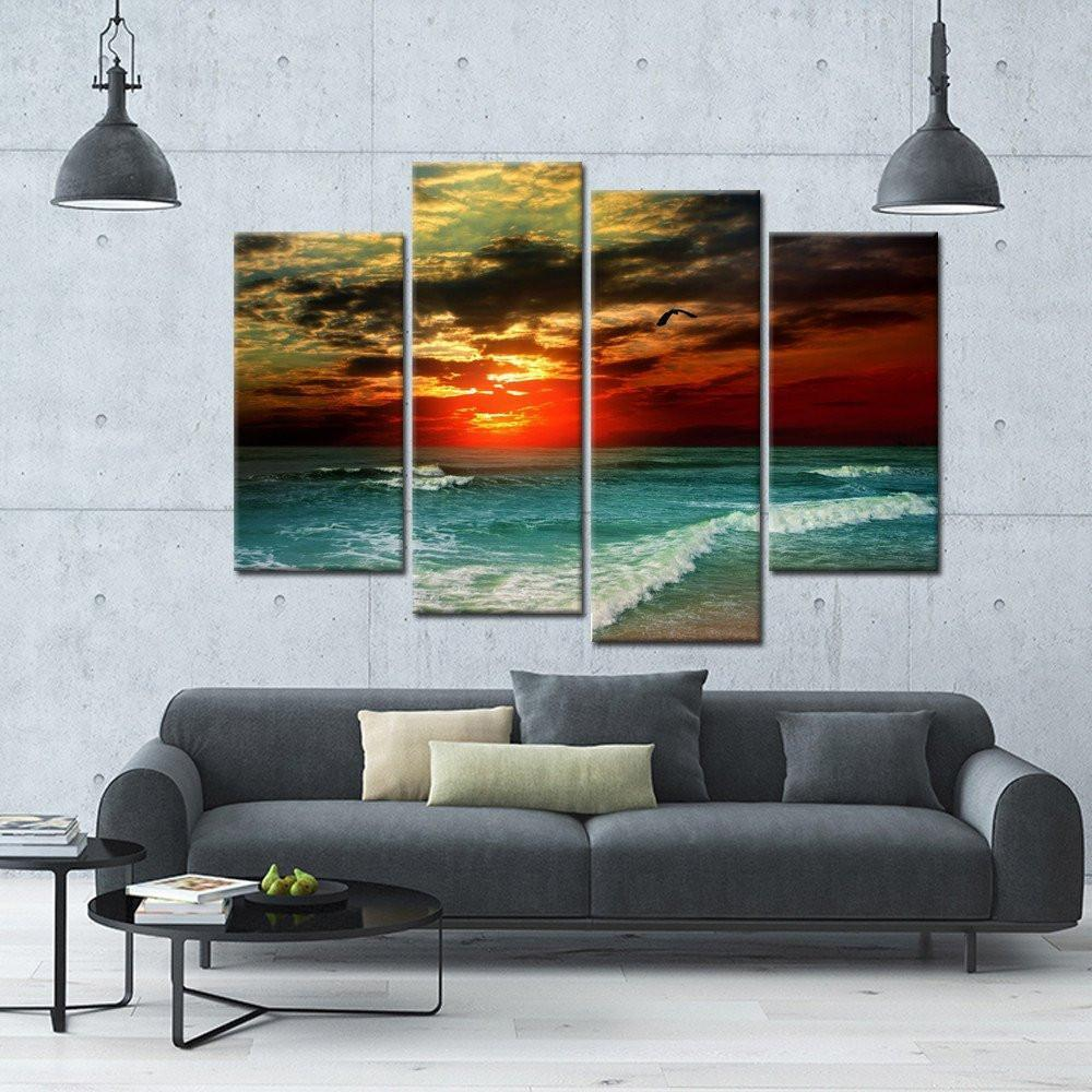 Sunset Flame 4 Piece Canvas Small / No Frame Wall