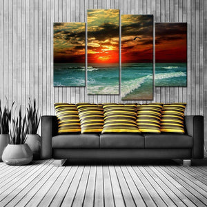 Sunset Flame 4 Piece Canvas Wall