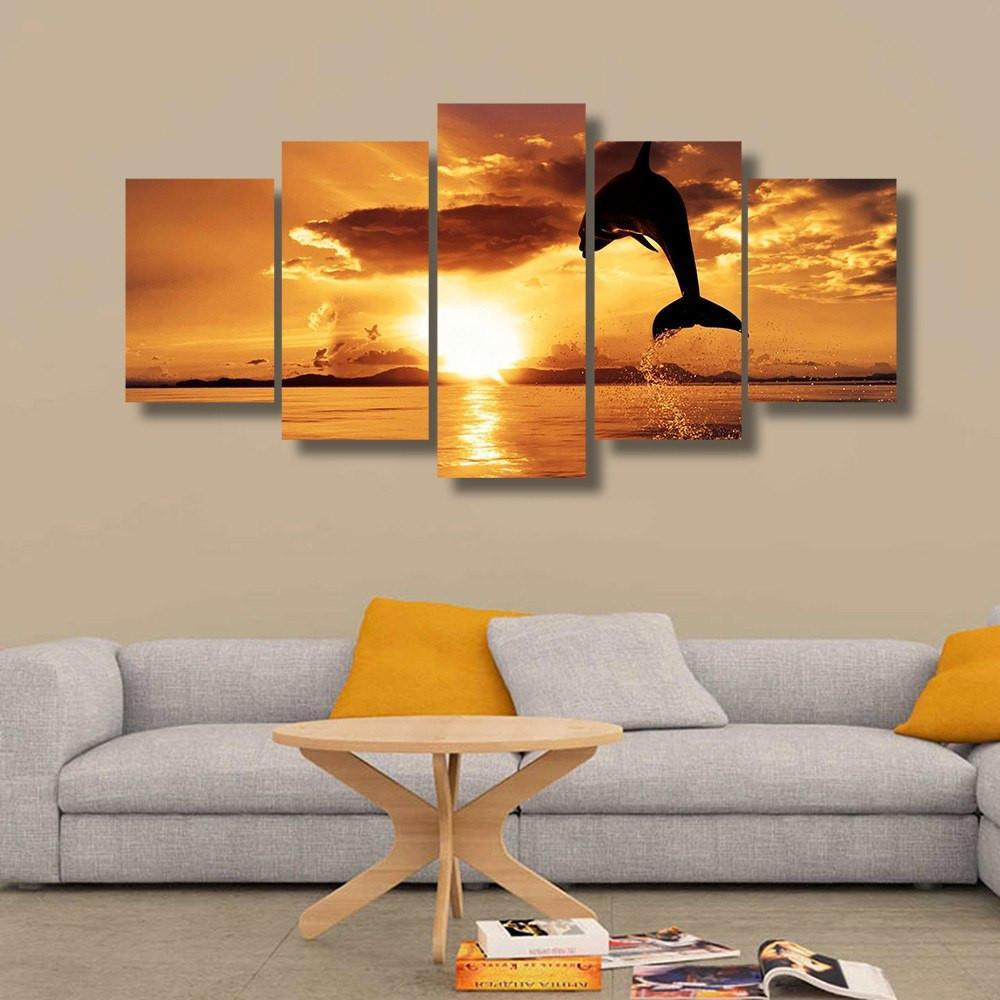 Sunset Swimming Dolphin 5 Piece Canvas Small / No Frame Wall