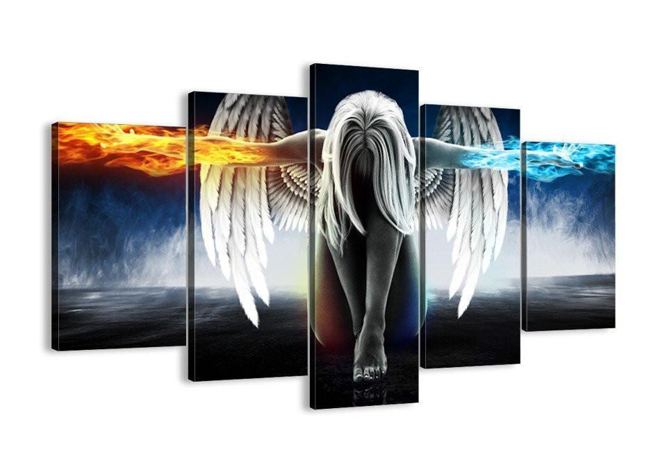 The Angel Power 5 Piece Canvas Wall