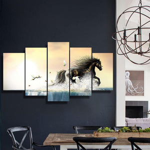 The Gallop 5 Piece Canvas Small / No Frame Wall