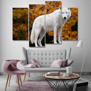 The White Arctic Wolf 4 Piece Canvas Small / No Frame Wall