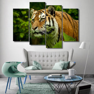 Tiger 4 Piece Canvas Small / No Frame Wall