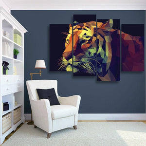 Tiger Illustration 4 Piece Canvas Small / No Frame Wall
