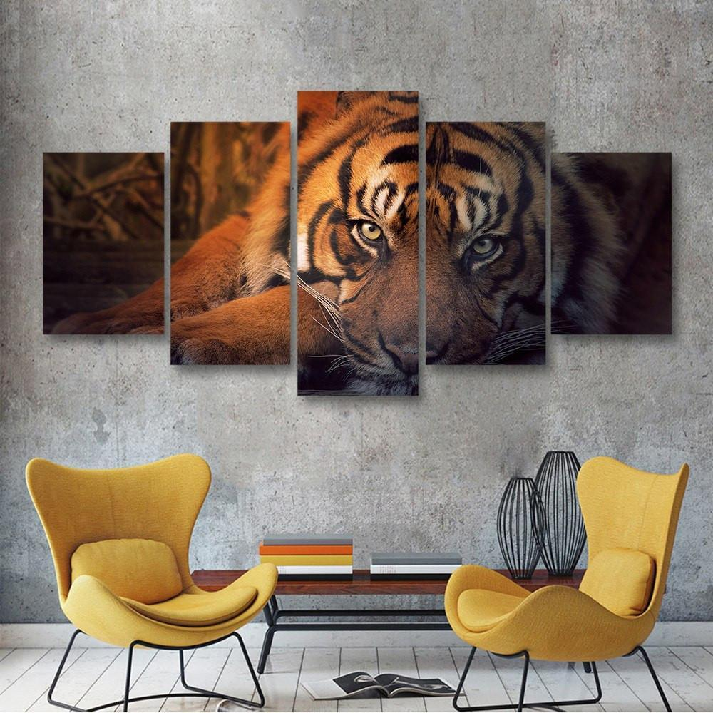 Tiger Resting 5 Piece Canvas Small / No Frame Wall
