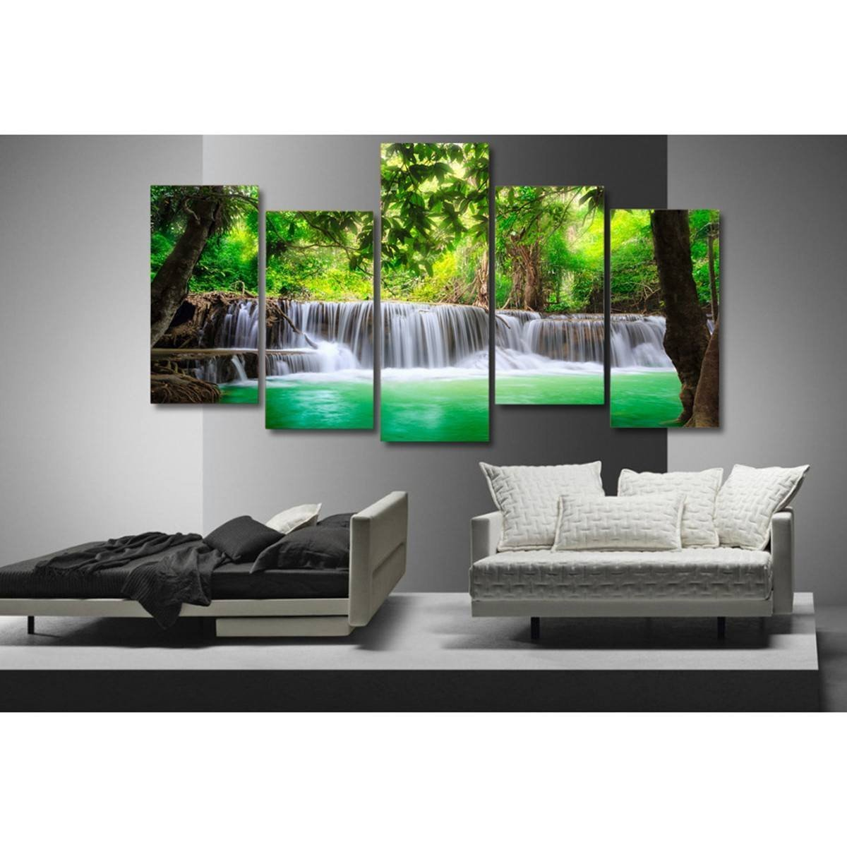 Tropical Waterfalls 5 Piece Canvas Small / No Frame Wall