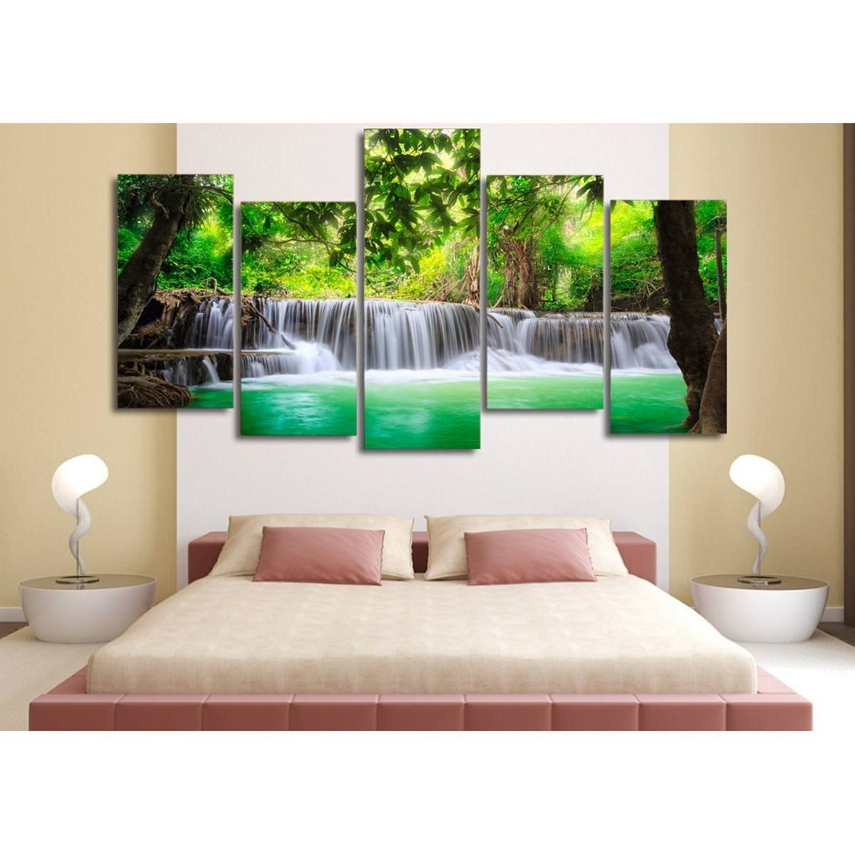 Tropical Waterfalls 5 Piece Canvas Wall