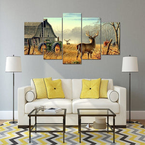 Two Whitetail Deer 5 Piece Canvas Small / No Frame Wall