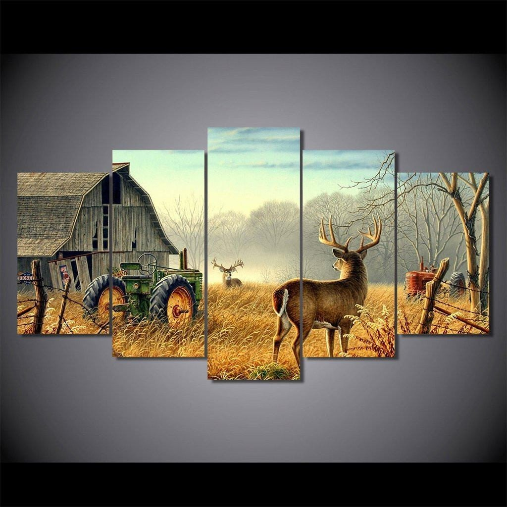 Two Whitetail Deer 5 Piece Canvas Wall