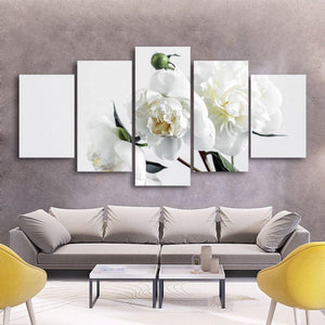 White Flowers 5 Piece Canvas Small / No Frame Wall