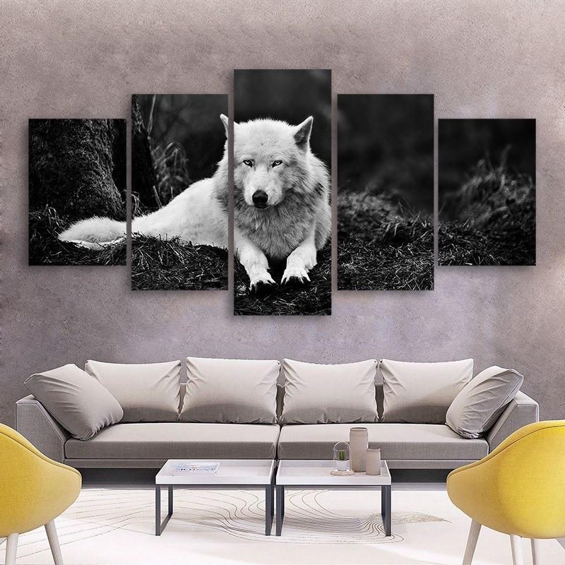 White Wolf 5 Piece Canvas Small / No Frame Wall