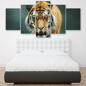 Wild Tiger 5 Piece Canvas Small / No Frame Wall