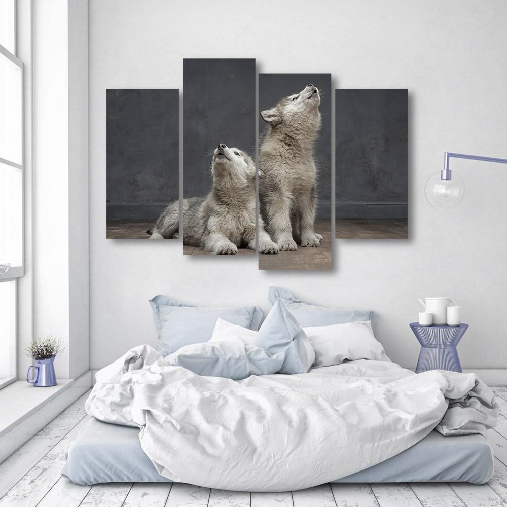 Wolf Pups 4 Piece Canvas Small / No Frame Wall