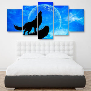 Wolves Howl Full Moon 5 Piece Canvas Small / No Frame Wall