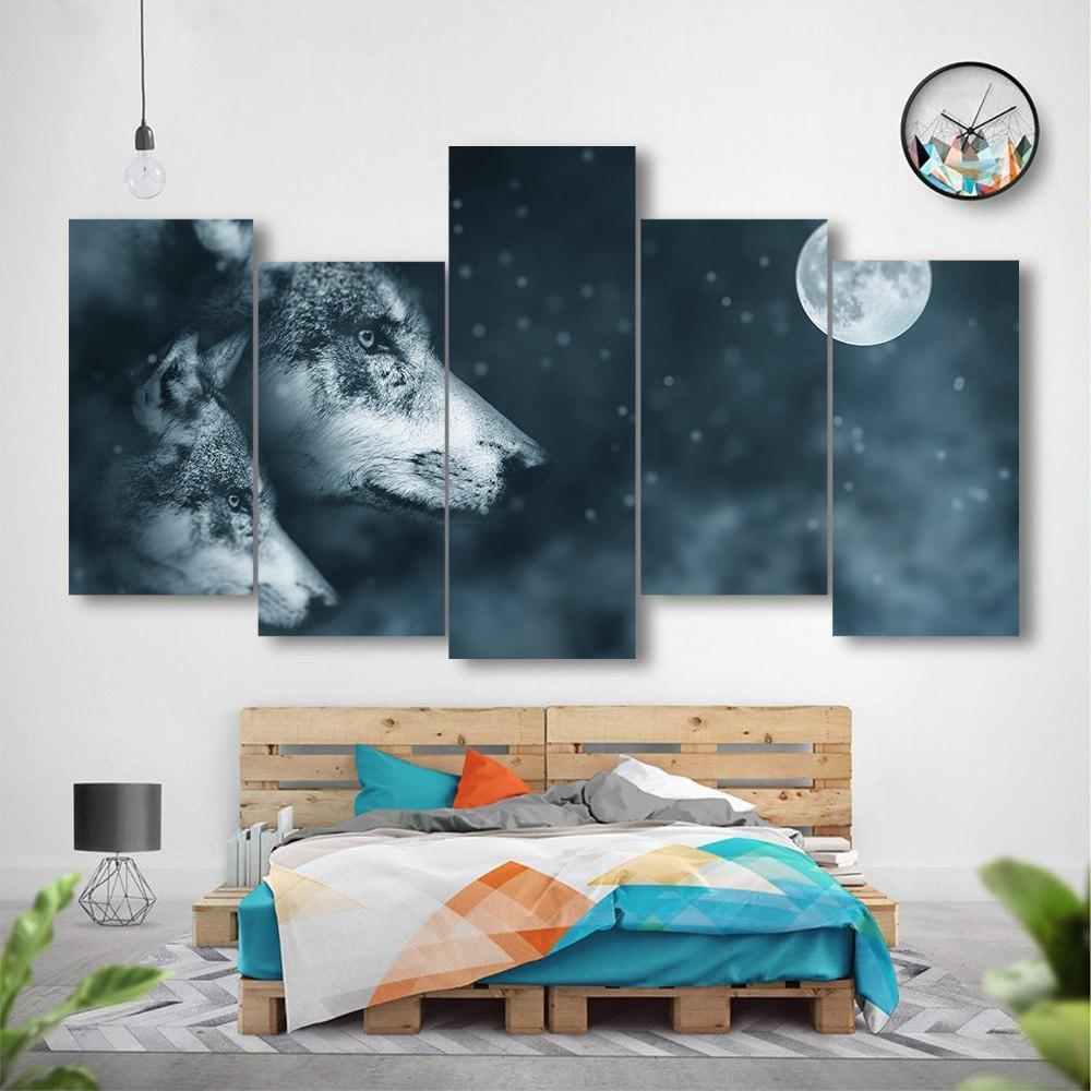 Wolves In The Night 5 Piece Canvas Small / No Frame Wall