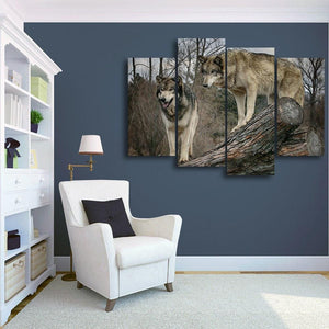 Wolves On A Log 4 Piece Canvas Small / No Frame Wall